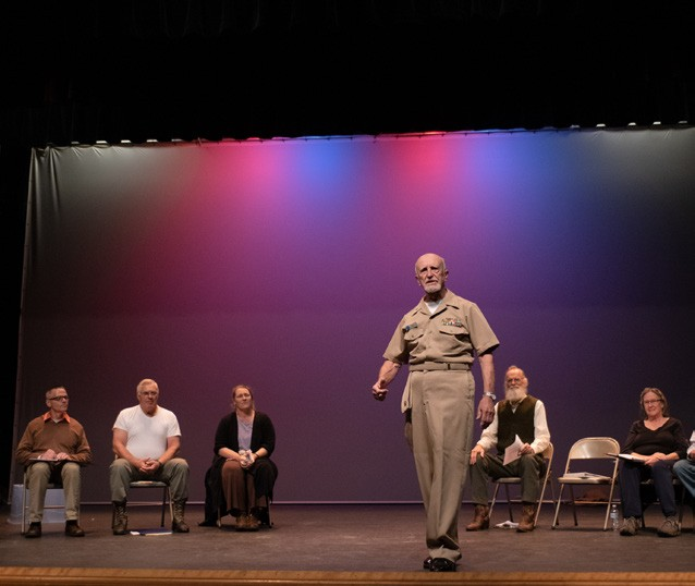 """Novermber Dave Peirce, a U.S. Navy veteran, tells his story of service during the Vietnam War at a rehearsal for """"The Telling Project"""" at Chandler. (Herald / Tim Calabro)"""