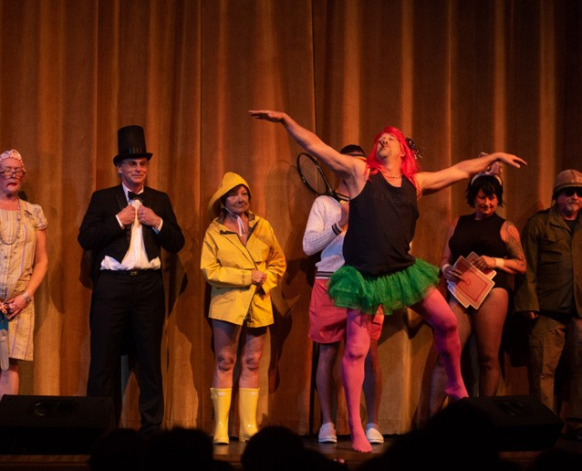 """April After a several-year hiatus, Chandler hosted the revival of the storied Mud Season Talent Show, bringing a variety of fascinating—and quite funny— acts to the music hall's main stage. Shown above, a troupe performs a surreal dance piece called """"If in this Valley."""" (Herald / Tim Calabro)"""